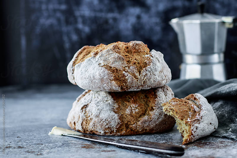 Soda bread by Babett Lupaneszku for Stocksy United