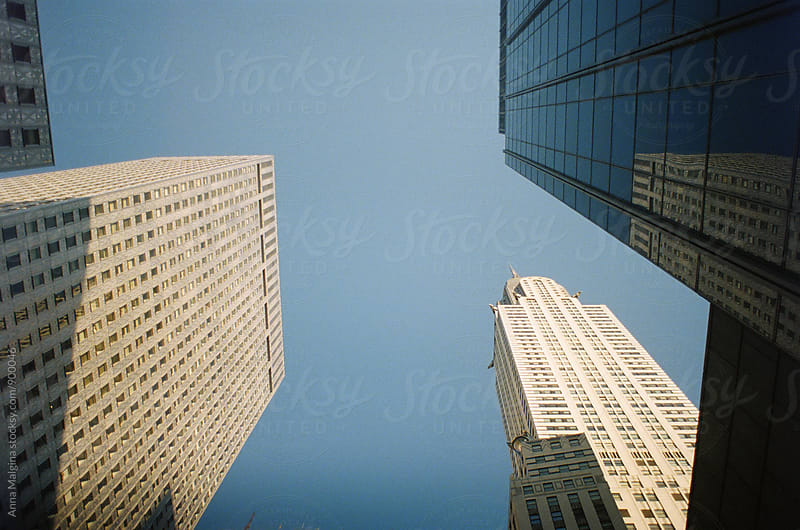 A film photo of skyscrapper in New York City by Anna Malgina for Stocksy United