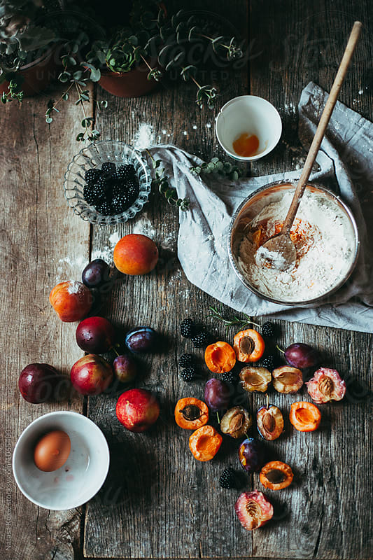 Ingredients for making a fruit cake by Natasa Kukic for Stocksy United