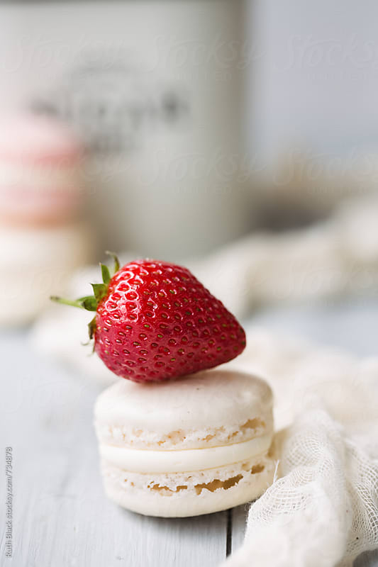 Macaron and strawberry by Ruth Black for Stocksy United