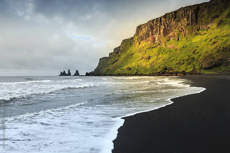 A black sand beach at Vik. Iceland. by John White for Stocksy United