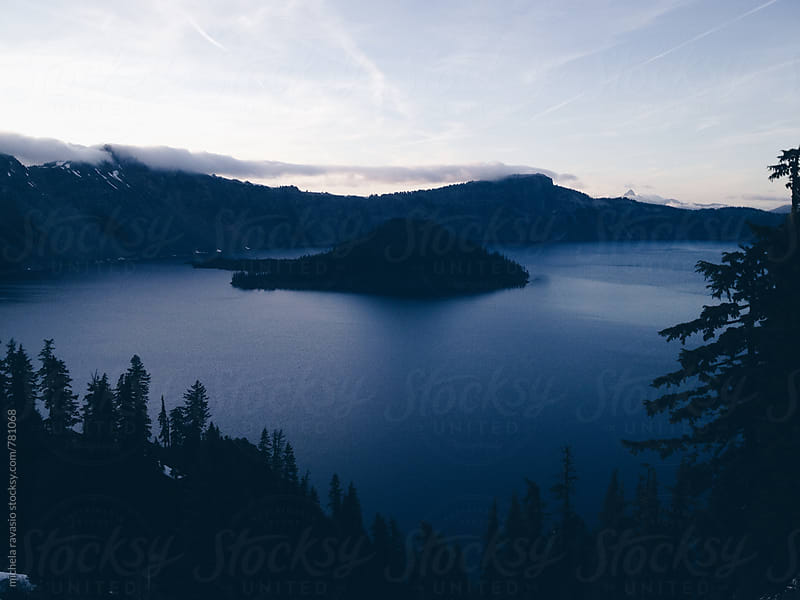 Crater lake at twilight by michela ravasio for Stocksy United