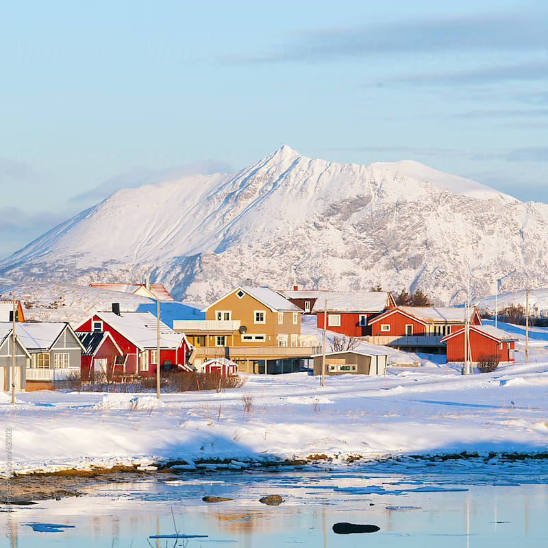 Colourful village of Sommarøy, Troms region, Norway, Scandinavia, Arctic region by Gavin Hellier for Stocksy United
