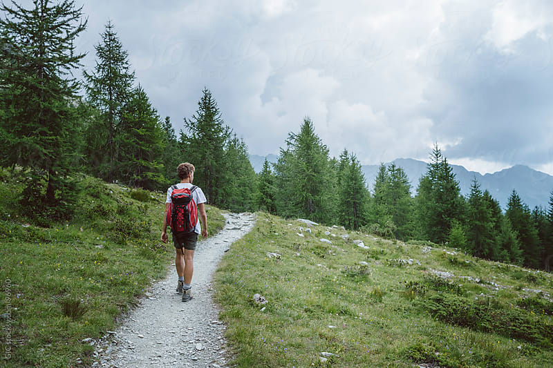 Hiker walking on a path in the forest by GIC for Stocksy United
