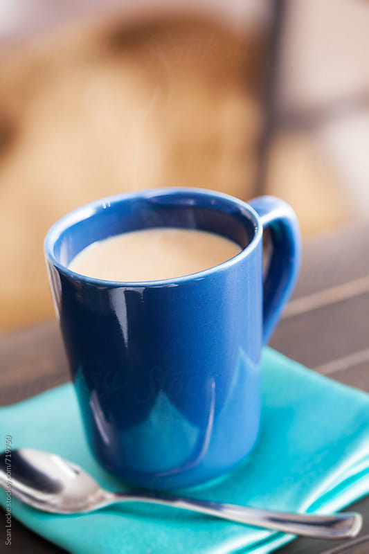 Hot Chai Drink With No Foam In Blue Mug by Sean Locke for Stocksy United