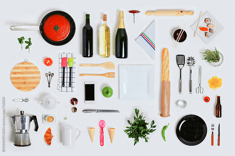 Kitchen objects mock up on white. by BONNINSTUDIO for Stocksy United