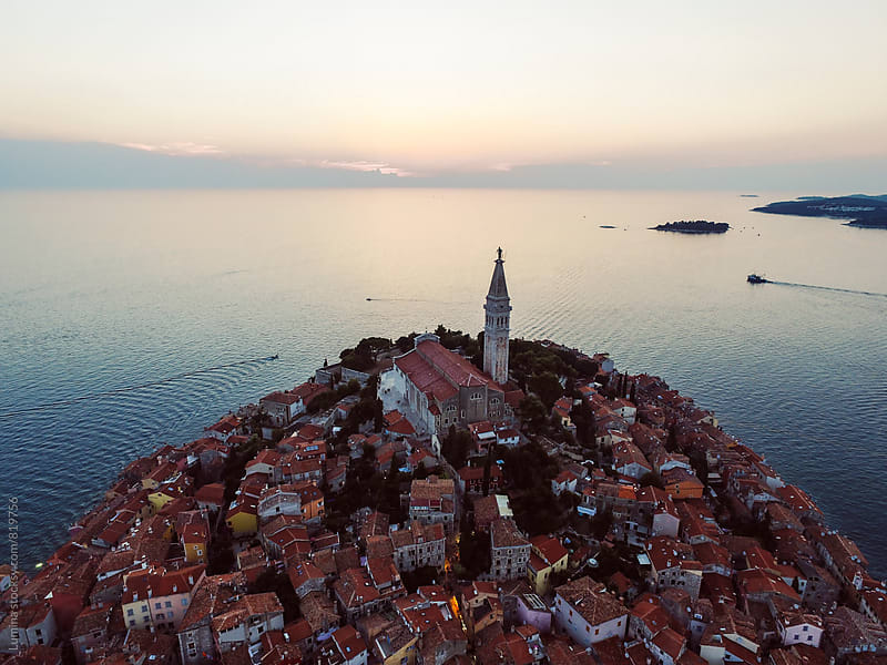 Aerial View of Rovinj, Croatia by Lumina for Stocksy United