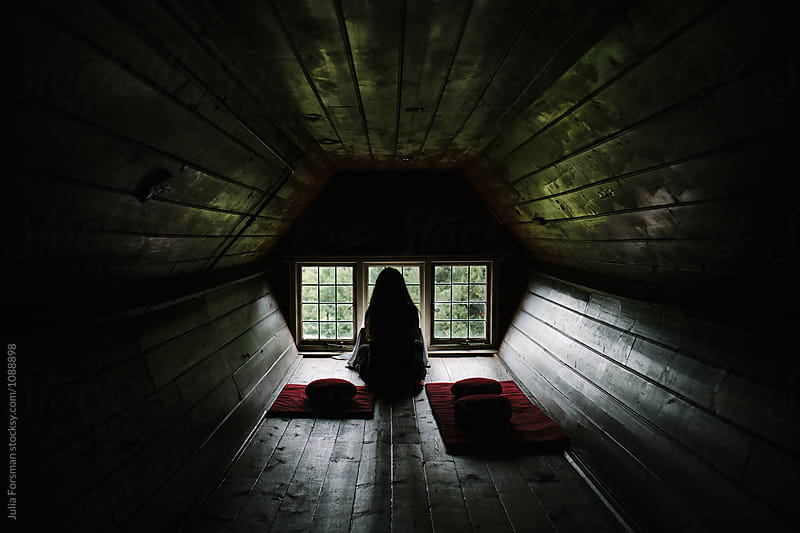 Silhouette of woman in wooden meditation room. by Julia Forsman for Stocksy United