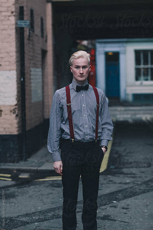 Stylish young blonde man Soho London. by kkgas for Stocksy United