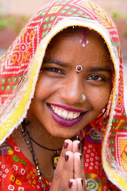 India, Rajasthan, Jaipur, portrait of a local woman wearing a colourful Sari by Gavin Hellier for Stocksy United