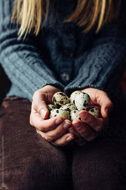 Woman's hands holding quail eggs by Gabriel (Gabi) Bucataru for Stocksy United