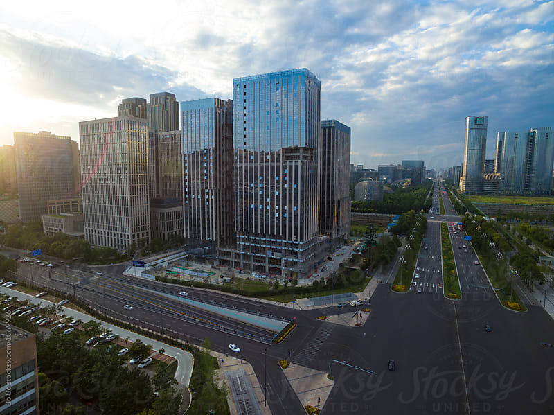 aerial view of Chengdu city at sunset by cuiyan Liu for Stocksy United