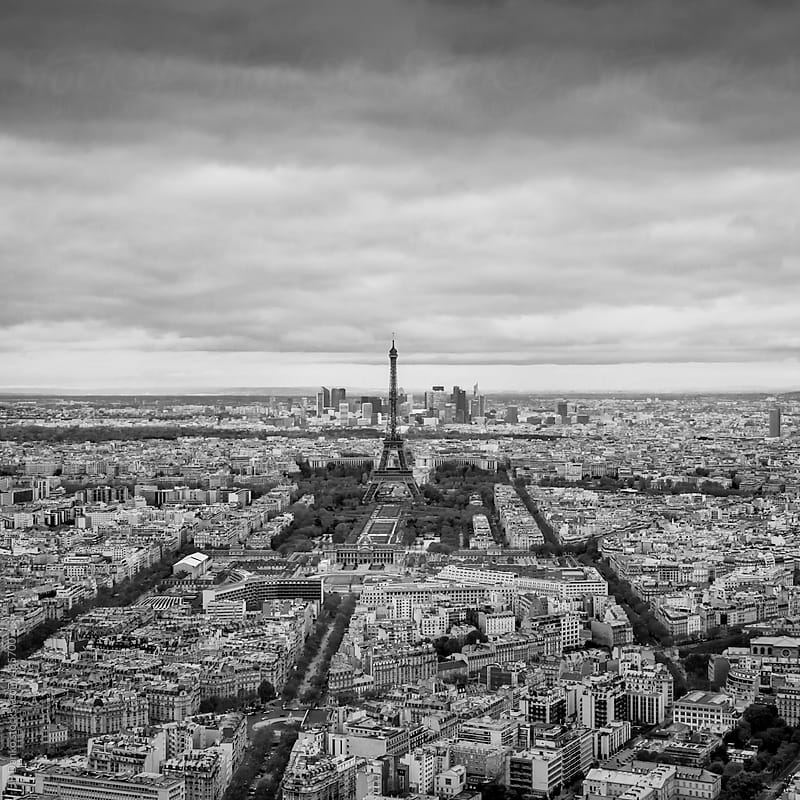 Black and White Vintage Film Medium Format Style Photograph of Paris Skyline by JP Danko for Stocksy United