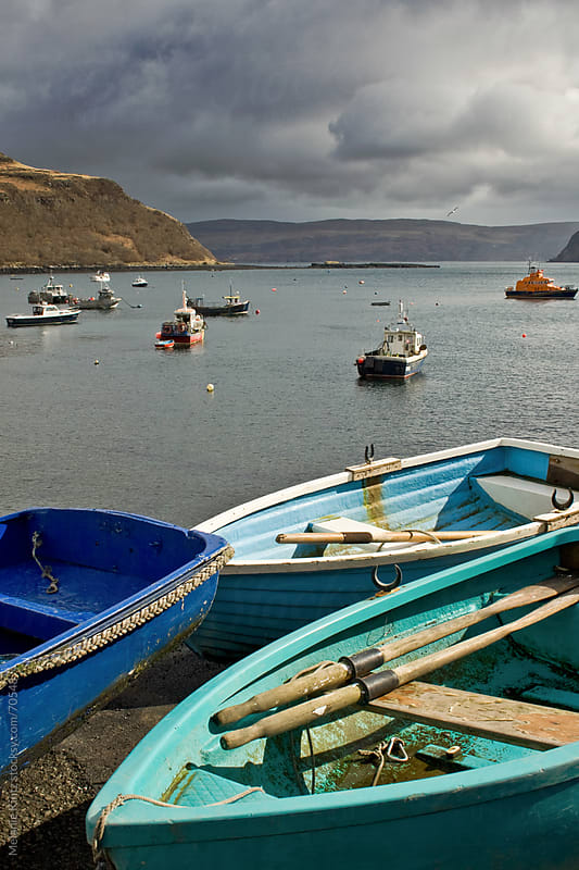 Boats at Portree harbor, Isle of Skye, Scotland by Melanie Kintz for Stocksy United