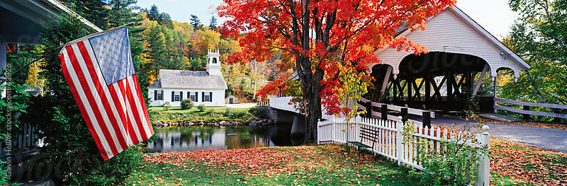 United States of America, New Hampshire, Stark Village, Church and Covered Bridge by Gavin Hellier for Stocksy United
