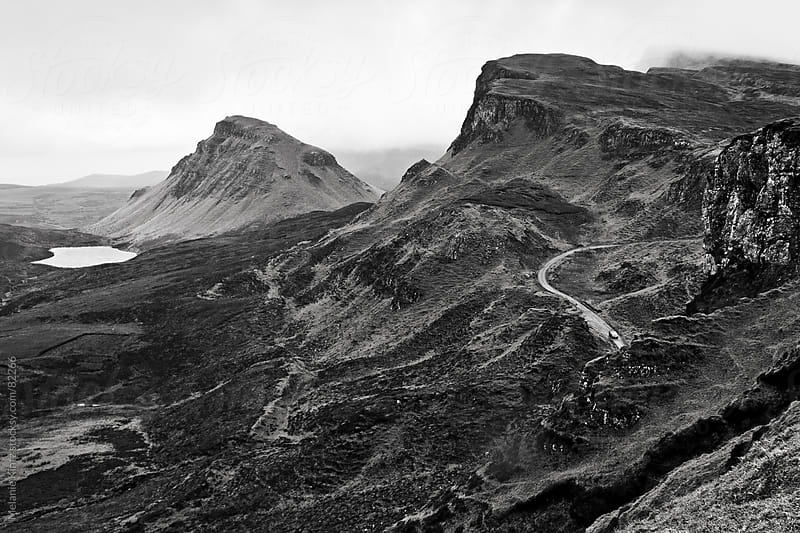 Quiraing, mountain ridge at the Isle of Skye on a foggy day by Melanie Kintz for Stocksy United