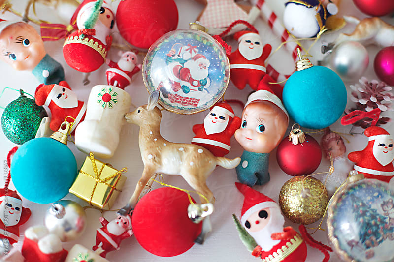 close up of Christmas decorations by Natalie JEFFCOTT for Stocksy United