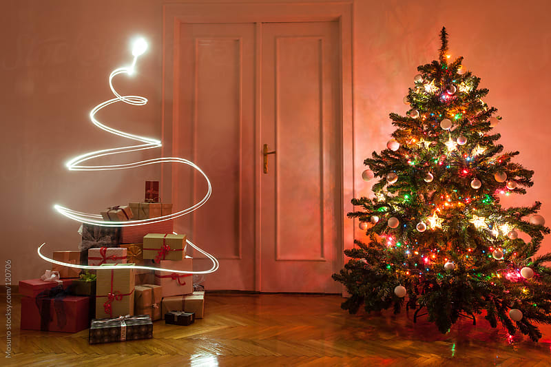Christmas Tree and Lights in the Room by Mosuno for Stocksy United