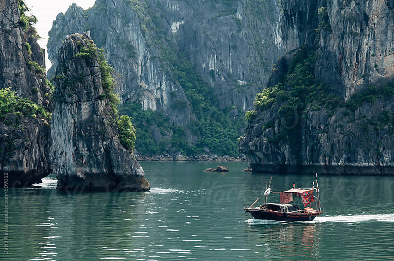 Little boat at Halong Bay by David Navais for Stocksy United