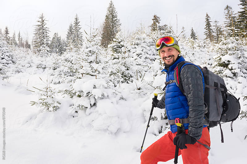 Portrait of smiling skier outdoor by RG&B Images for Stocksy United