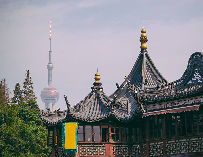 Oriental Pearl Tower of Shanghai, China seen from Yuyuan Garden by Shelly Perry for Stocksy United