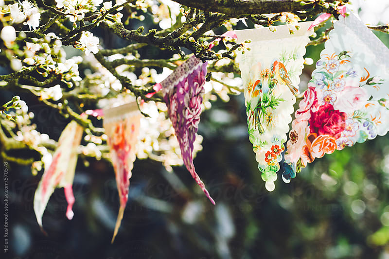 Pretty bunting hanging in a blossom tree by Helen Rushbrook for Stocksy United