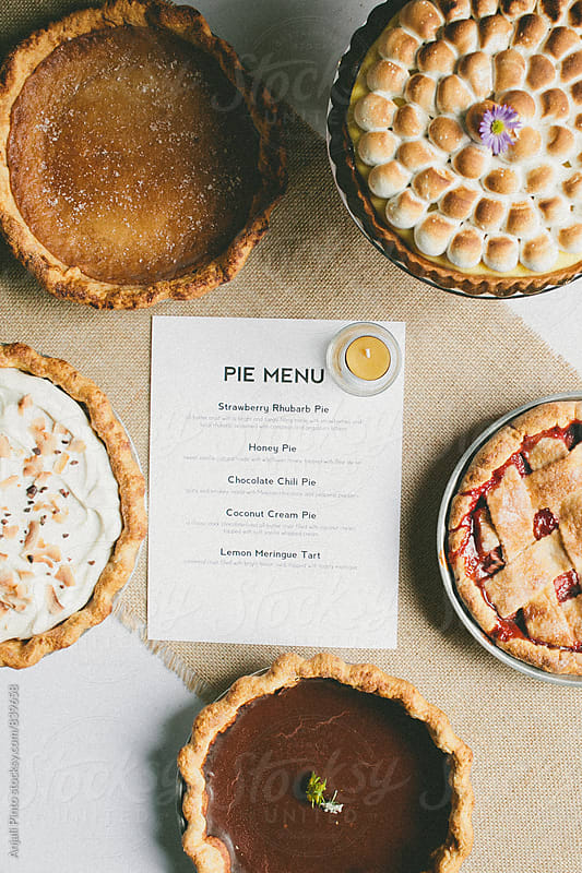 Overhead Shot of Five Pies by Anjali Pinto for Stocksy United