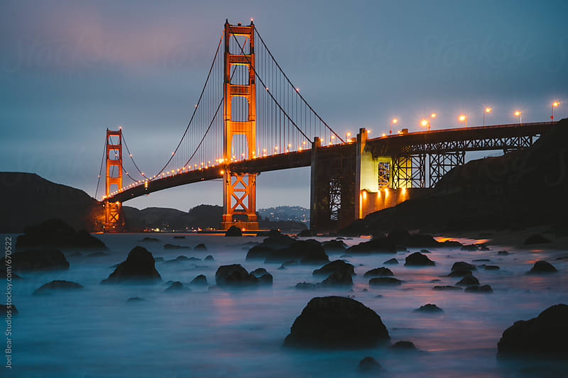 Golden Gate Bridge at Dusk  by Joel Bear Studios for Stocksy United