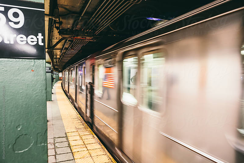 Long exposure of New York subway by Alejandro Moreno de Carlos for Stocksy United