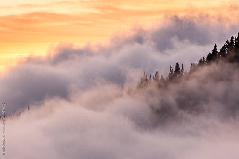Enshrouded ridge at sunset by Mark Windom for Stocksy United