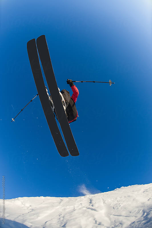 Freerider flying on skis  by RG&B Images for Stocksy United