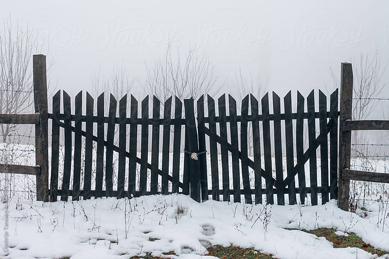 Black wooden gate in the snow by Dimitrije Tanaskovic for Stocksy United
