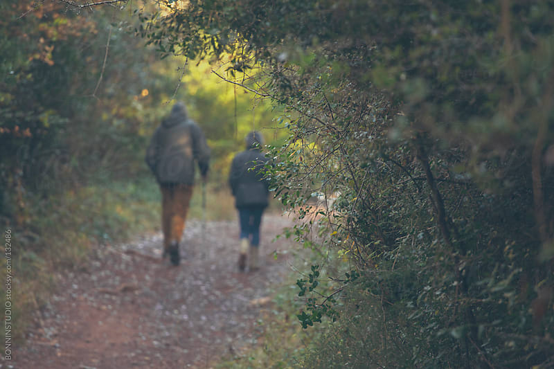 Old couple walking on the path. Forest landscape in autumn. by BONNINSTUDIO for Stocksy United