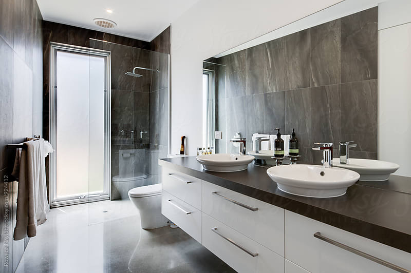 Contemporary Bathroom by Rowena Naylor for Stocksy United
