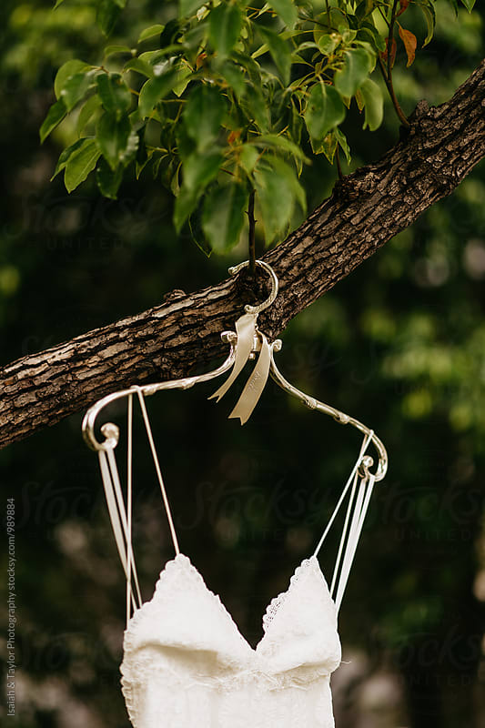 Wedding Gown hanging on tree by Isaiah & Taylor Photography for Stocksy United