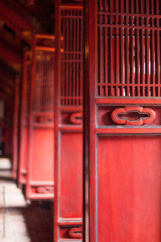Red Temple Shutters in Hanoi Vietnam by Rowena Naylor for Stocksy United