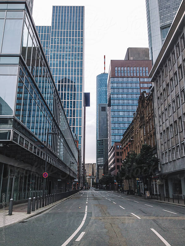 Empty street in Frankfurt downtown, Germany by Luca Pierro for Stocksy United