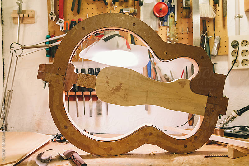 Piece of Handcrafted Wooden Guitar by VICTOR TORRES for Stocksy United
