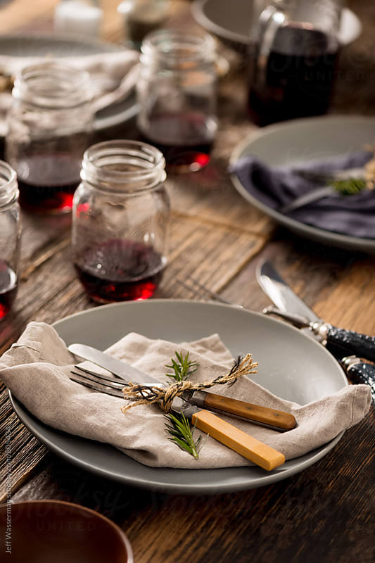 Rustic Dinner Party Setting by Jeff Wasserman for Stocksy United