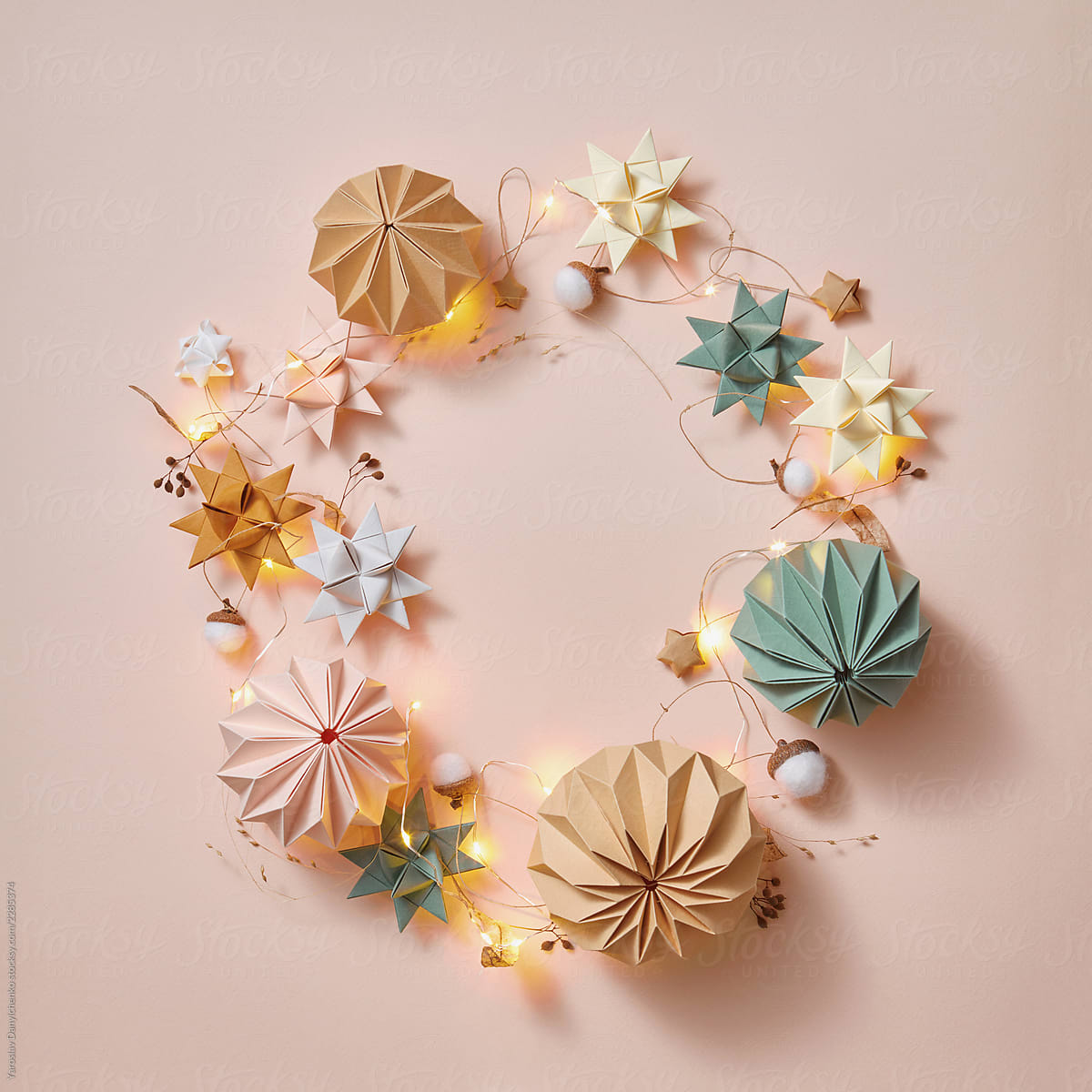 Stock Photo - Round Greeting Handmade Frame From Paper Origami Balls, Stars  An