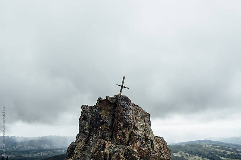 Wooden Cross On Mountain Top by Evan Dalen for Stocksy United