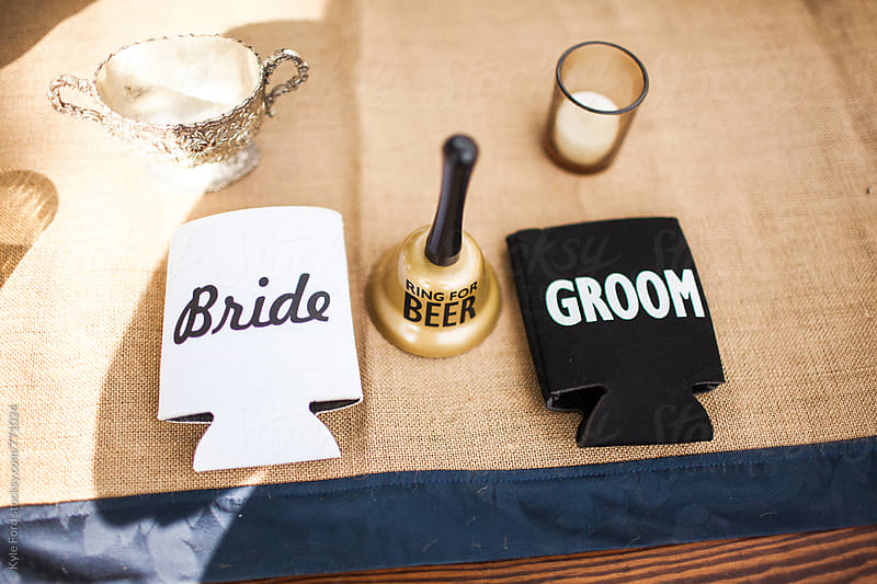 Bride & Groom Koozie by Kyle Ford for Stocksy United