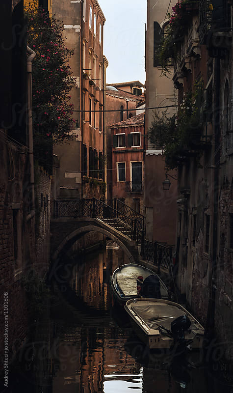 Detail of traditional street with small bridge over water canal in Venice. Italy by Audrey Shtecinjo for Stocksy United