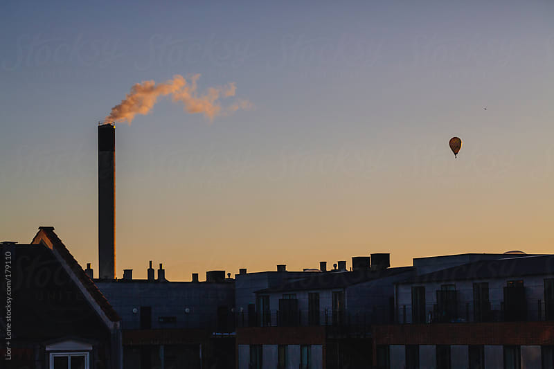Hot air balloon at sunset by Lior + Lone for Stocksy United