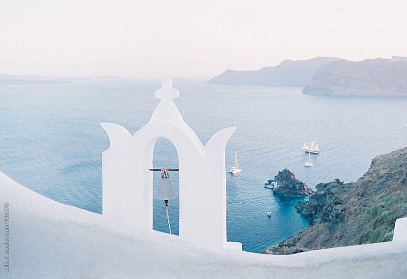 Traditional Greek buildings on Santorini island by Julia Kaptelova for Stocksy United