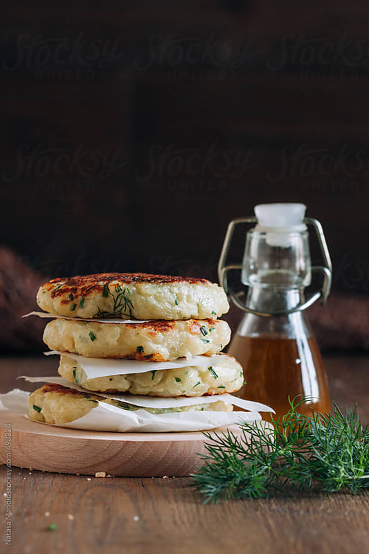 Potato patties with fresh herbs by Nataša Mandić for Stocksy United