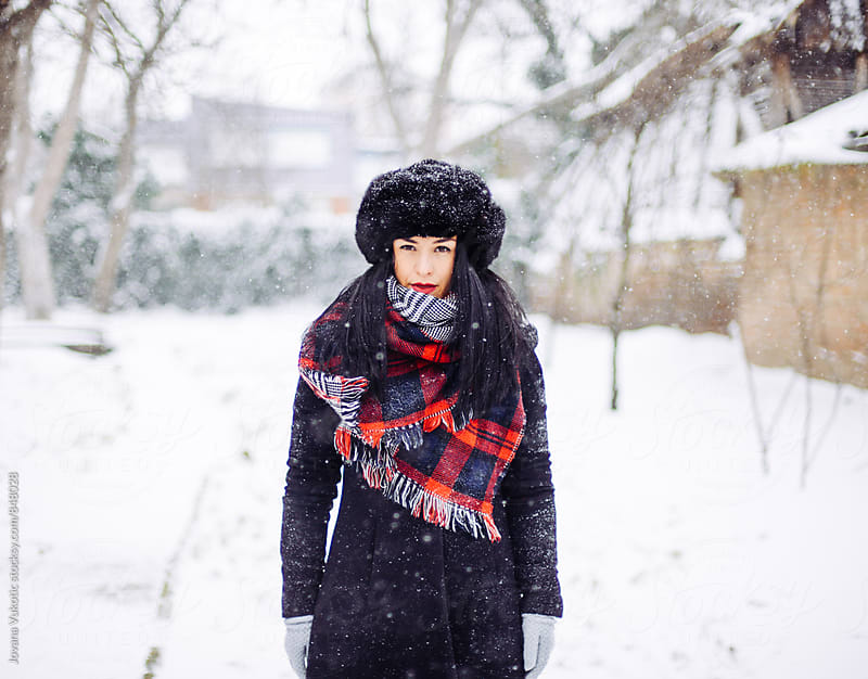 Woman in the  snow by Jovana Vukotic for Stocksy United