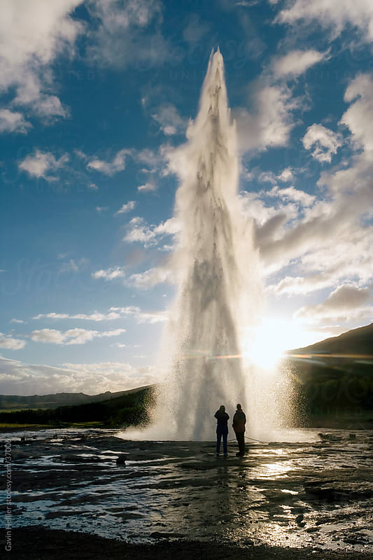 Iceland, Golden Circle, Geysir, Strokkur (the Churn) which spouts up to 35 meters erupting every 10 minutes by Gavin Hellier for Stocksy United