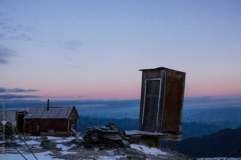 Scenic view on abandoned buildings on top of mountain.  by Danil Nevsky for Stocksy United