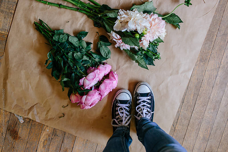 DIY floral arrangement  by Kristen Curette Hines for Stocksy United